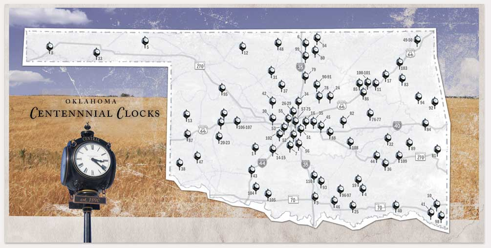 Image of Cetennial Clocks map of installations in Oklahoma